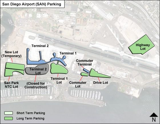 san diego airport rental car map San Diego Airport Parking San Airport Long Term Parking Rates Map san diego airport rental car map