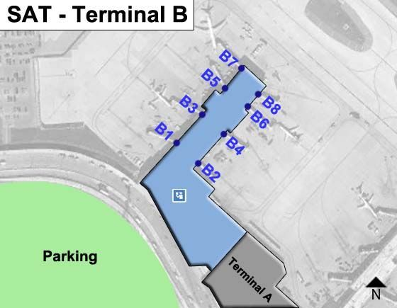 San Antonio Airport Sat Terminal B Map