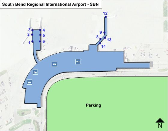 South Bend Regional SBN Terminal Map