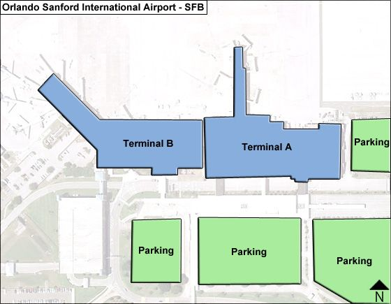 Florida Airport Map.Orlando Sanford Sfb Airport Terminal Map