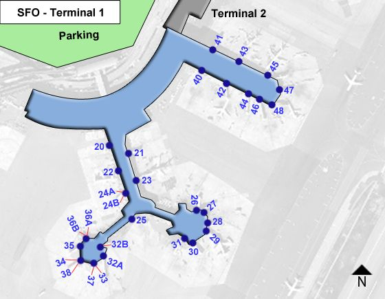 San Francisco Airport Terminal 1 Map