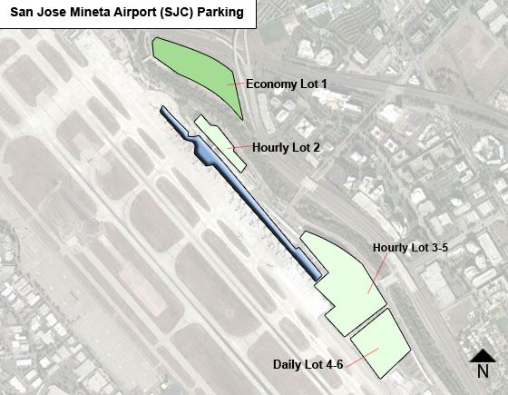 San Jose Mineta SJC airport parking map