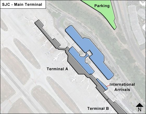 San Jose Airport Main Terminal Map
