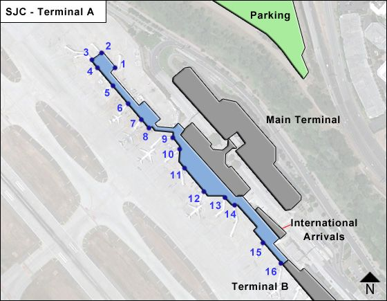 San Jose Airport Terminal A Map