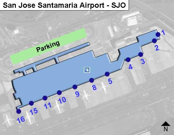 San Jose Santamaria SJO Airport Terminal Map