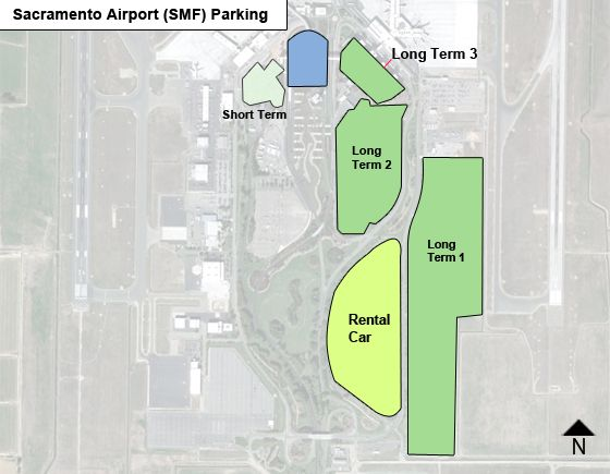 Sacramento SMF airport parking map