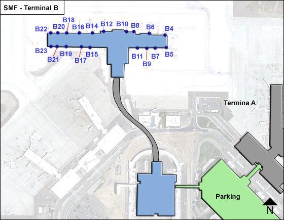 Sacramento Airport Terminal B Map