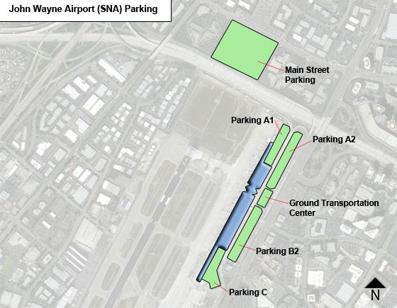 Orange County John Wayne SNA airport parking map