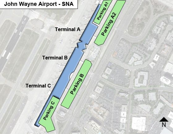 Orange county john wayne sna airport terminal map main terminal concourses at orange county john wayne sna sciox Images