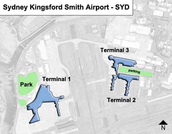Sydney Airport Terminal Map Sydney Kingsford Smith SYD Airport Terminal Map