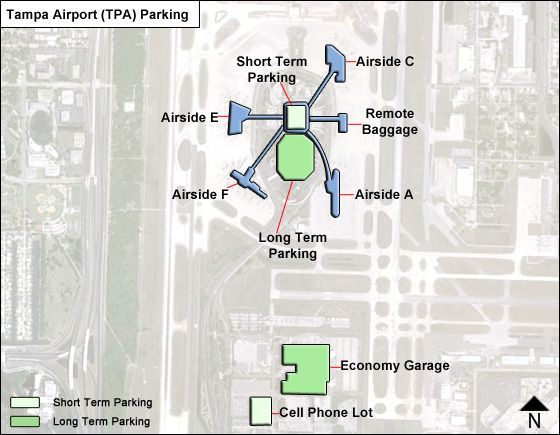 Tampa TPA airport parking map