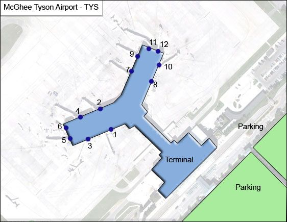 Knoxville McGhee Tyson TYS Terminal Map