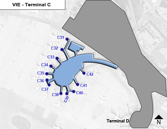 Schwechat, Upper Austria Airport Terminal C Map
