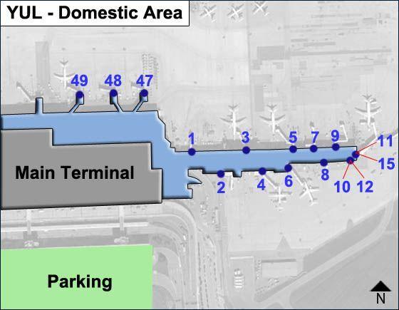 Montreal Trudeau Airport YUL Domestic Area Map