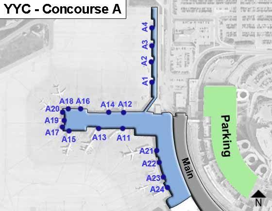 Calgary Airport Concourse A Map