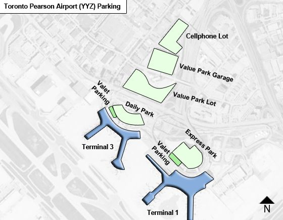 Toronto Pearson YYZ airport parking map
