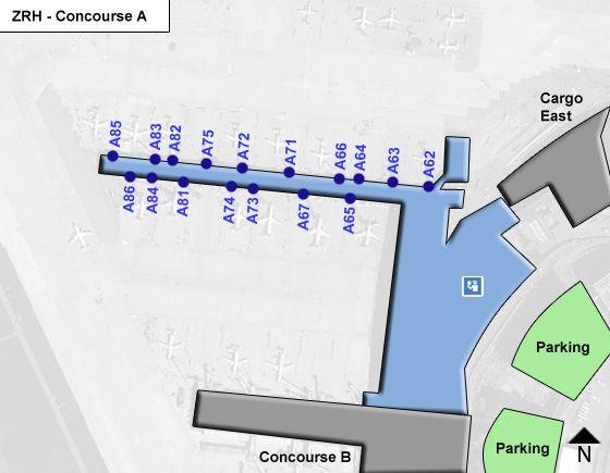 Kloten, Kanton Zurich Airport Concourse A Map