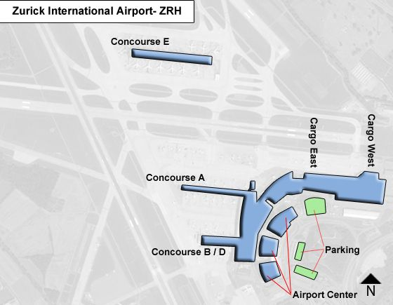 Kloten, Kanton Zurich Airport Overview Map