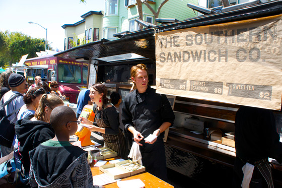Southern Sandwich Co. Nathan Niebergall and his brother Brett, the duo formerly behind Frisée in the Castro, served up hearty brisket sandwiches and hush puppies to an eager crowd. Photo: J. Barmann/Grub Street
