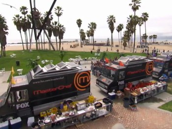 Venice Beach, CA: MasterChef Food Truck Challenge – Monti Dishes On David, Stacy & Becky