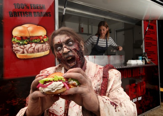 London, UK: A Feast for Zombies: Gory Gourmet Food Truck Serves Fresh Brain Burgers