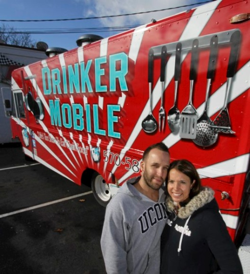 Brian James and Jennifer Borowski operate the Drinker Mobile food truck.