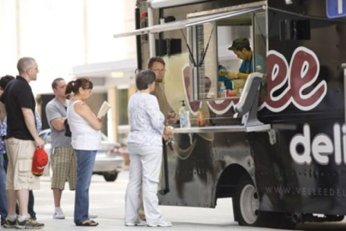 credit: Brian GarritySkyway retailers are calling a meeting tomorrow to discuss whether food trucks are given an unfair advantage