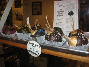 Chocolate-covered onions from Chocolate by Mueller in Philadelphia's Reading Terminal Market. (Photo courtesy of flickr.com/photos/andwat.)