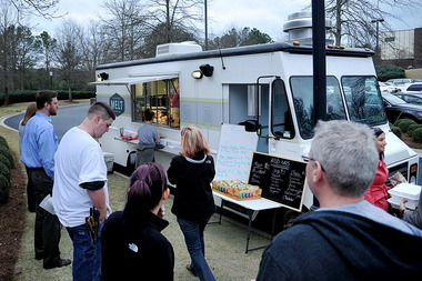 The Melt food truck draws a crowd outside the Cobbs, Allen & Hall building in Office Park in Mountain Brook. (Tamika Moore/AL.com)
