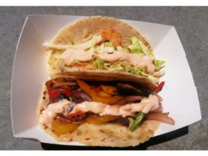 Veggie and shrimp tacos from Soho Taco gourmet taco truck. Soho Taco was among the trucks slated to appear at this week's gathering.