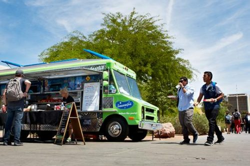 Food trucks like Sausagefest are adding variety to the campus lunch scene. (Aaron Mayes / UNLV Photo Services)