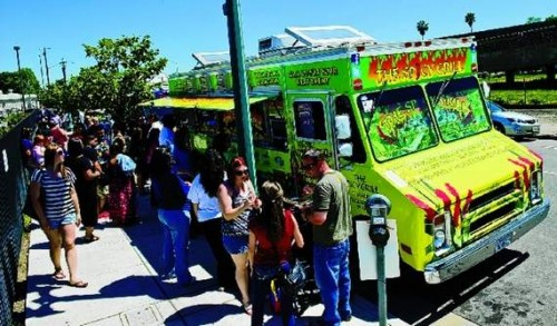 Food trucks line Washington Street behind The Record on Friday. CRAIG SANDERS/The Record