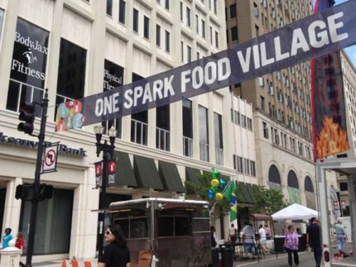 Gary.Mills@jacksonville.com The One Spark Food Village -- located on a cordoned off area of Laura Street between Forsyth and and Adams streets -- features nine food trucks and food and beverage vendors.