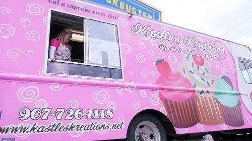 Kastle Sorensen owns Kastle's Kreations mobile cupcake business in a lot on Northern Lights Boulevard on Friday, August 24, 2012.