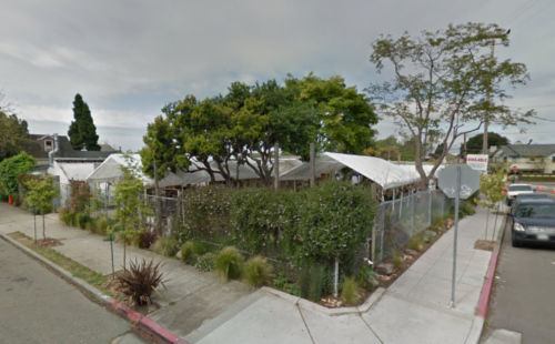 The lot on the corner of Gilman and Curtis where local property owners hope to open a beer and food truck garden has been host to a number of under-canvas operations over the years. Photo: Google