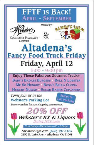 Altadena, CA: Fancy Food Truck Friday Returns April 12 with Some Favorite Gourmet Trucks