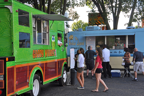 Credit James Willamor / flickr Charlotte food trucks gather for Chow Down Uptown across Seventh Street from Levine Museum.