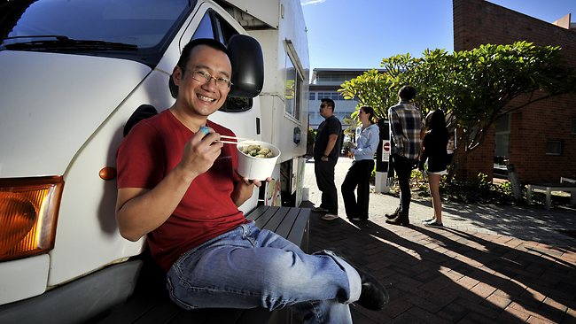 Roy Chin with his Jumplings Tasy Dumplings truck. Picture: Richard Hatherly