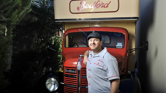 Mathew Williams in front of his 1948 Hey Pesto mobile cafe and catering truck. Picture: Richard Hatherly
