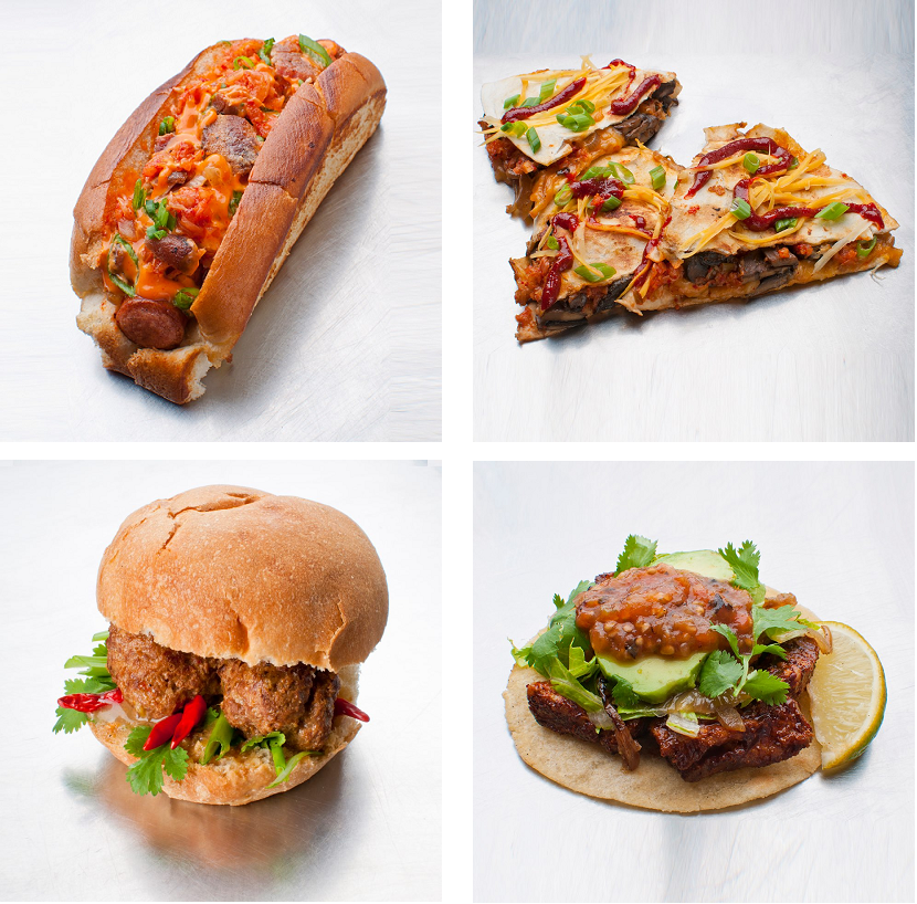 From Top Left to Right  - K-Dog, Kimchi Quesadilla From Bottom Left to Right - Thai Meatball Sandwich, Mexican Beef Taco  (photo: via facebook)