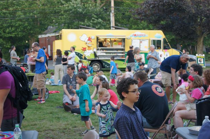 Dozens of patrons dine outside the Chicken on the Road Truck during the Lexington Food Truck Festival on Friday, May 31. Courtesy photo.