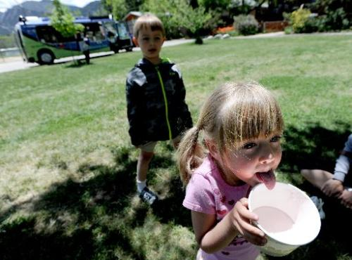Maravene Bahnsen, 3, licks the last bit of frozen yogurt her parents purchased Saturday from the Wandering Cow food truck in the background. Her brother, Brodie, is behind her. Boulder's mobile food truck and food cart summer program kicked off Saturday. ( CLIFF GRASSMICK )