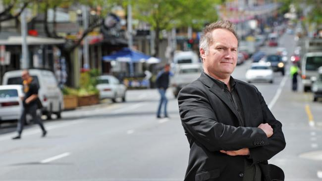 Adelaide West End Association president Andrew Wallace at western end of Hindley Street. Source: News Limited