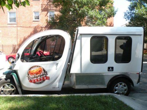 "Bridgeport Pasty Company's ""Pastymobile:"" a retrofitted GEM electric car. (Chuck Sudo/Chicagoist)"