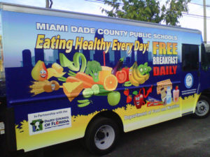 The Miami-Dade school district's food truck has visited about 45 schools since last summer. After a break this summer, it is scheduled to start rolling again in the fall. Department of Food and Nutrition, Miami-Dade County Public Schools