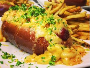 Facebook The Main Squeeze: All beef hot dog with chipotle lobster, mac 'n' cheese, and gremolata.