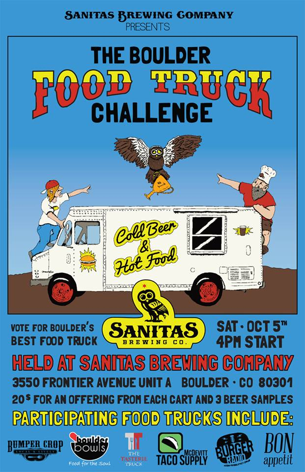 "Boulder, CO: Sanitas Brewing Company to Host the First ""Boulder Food Truck Challenge"""