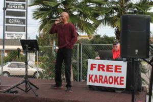 Image: Diamond Posey Norris Thompson II was one of many diners who took the karaoke stage between bites.