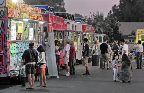 L.A. County health inspectors often don't know where specific food trucks and carts can be found, making surprise inspections impossible. Such unannounced inspections are routine for restaurants. Above, food truck vendors in Cerritos in 2011. (Lawrence K. Ho, Los Angeles Times / April 8, 2014) http://www.latimes.com/business/la-fi-lazarus-20140408,0,2474071.column#ixzz2yGDgadMa