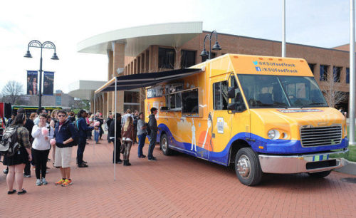 Fork in the Road, Kent State University's new food truck, is drawing diners daily at various locations on campus. (Kent State University)
